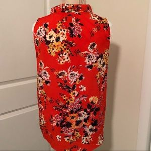 a new day Tops - Orange Floral Bow Blouse